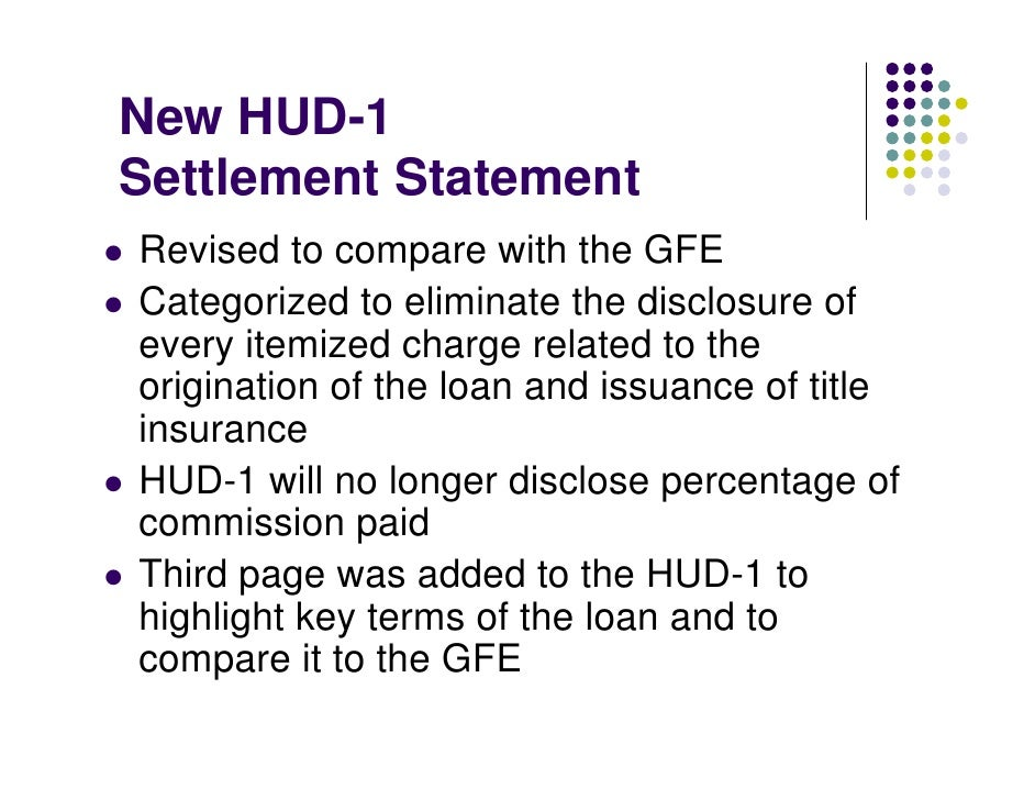 New HUD-1 Settlement Statement Revised to compare with the GFE Categorized to eliminate the disclosure of every itemized c...