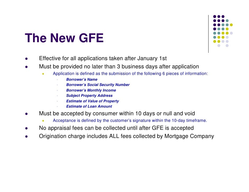 The New GFE  Effective for all applications taken after January 1st  Must be provided no later than 3 business days after ...