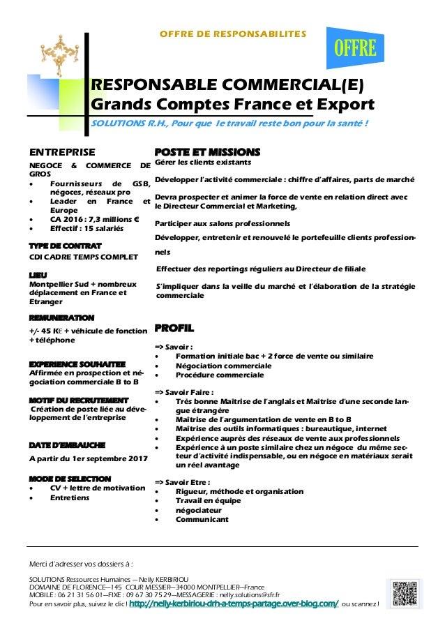 contrat de travail directeur commercial RESPONSABLE COMMERCIAL(E) GRANDS COMPTES FRANCE ET EXPORT contrat de travail directeur commercial
