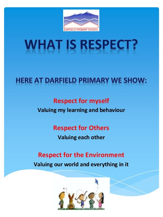 Respect for myself Valuing my learning and behaviour       Respect for Others         Valuing each other Respect for the E...