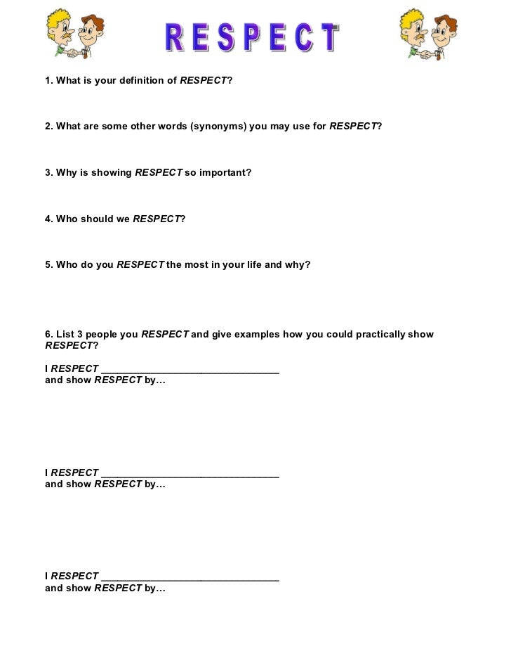 {Respect worksheet – Worksheets on Respect