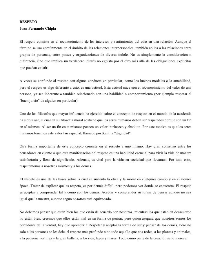 RESPETO Joan Fernando Chipia   El respeto consiste en el reconocimiento de los intereses y sentimientos del otro en una re...