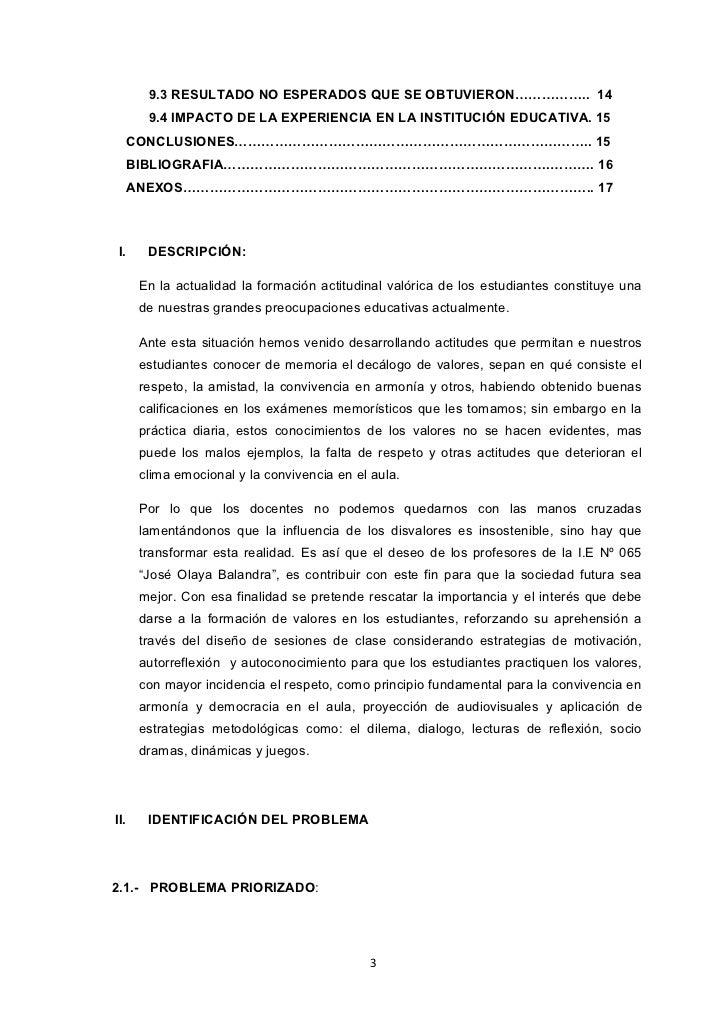 9.3 RESULTADO NO ESPERADOS QUE SE OBTUVIERON…………….. 14        9.4 IMPACTO DE LA EXPERIENCIA EN LA INSTITUCIÓN EDUCATIVA. 1...
