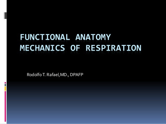 FUNCTIONAL ANATOMY MECHANICS OF RESPIRATION RodolfoT. Rafael,MD., DPAFP