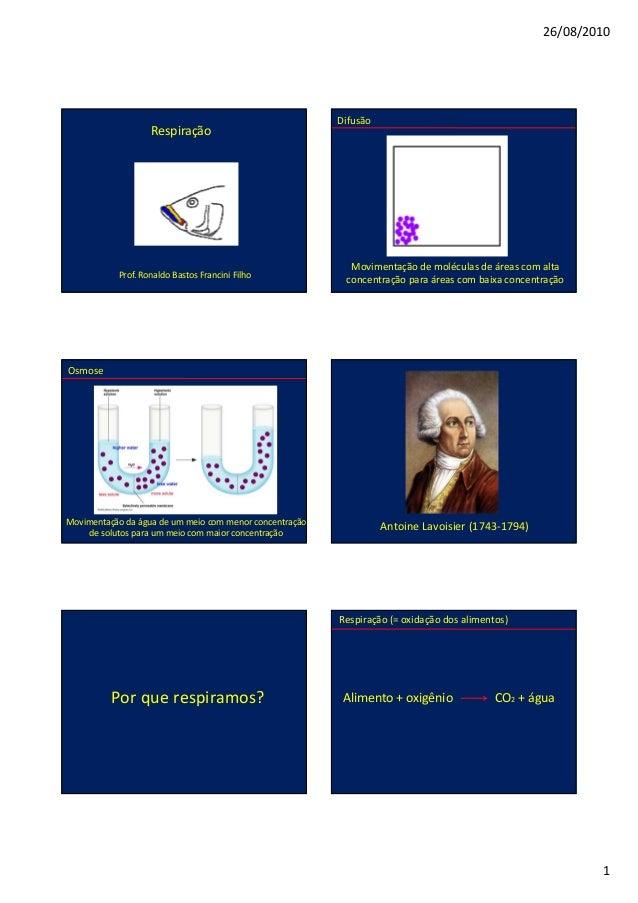 26/08/2010 1 Respiração Prof. Ronaldo Bastos Francini Filho Difusão Movimentação de moléculas de áreas com alta concentraç...