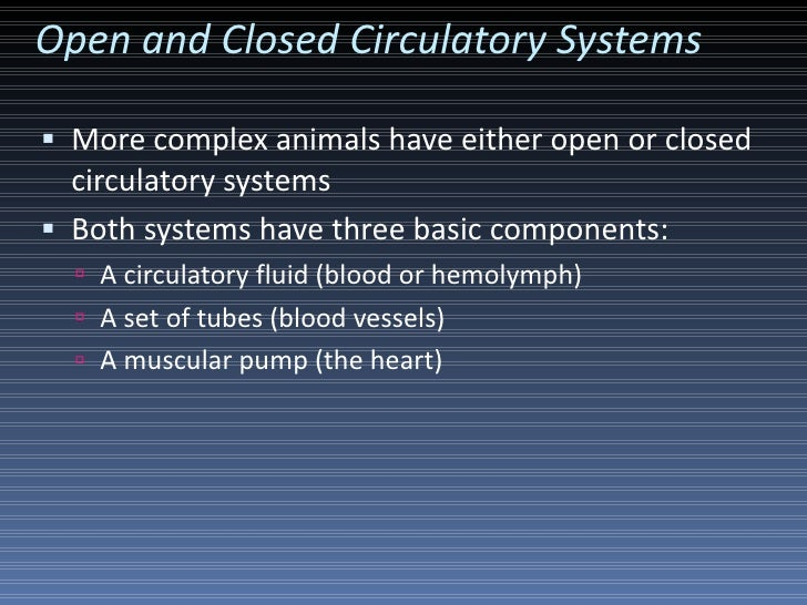 Open and Closed Circulatory Systems <ul><li>More complex animals have either open or closed circulatory systems </li></ul>...