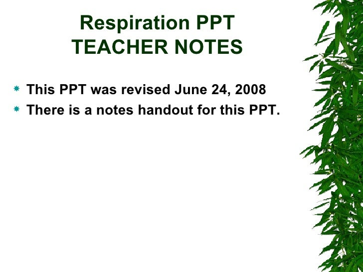 Respiration PPT TEACHER NOTES <ul><li>This PPT was revised June 24, 2008  </li></ul><ul><li>There is a notes handout for t...