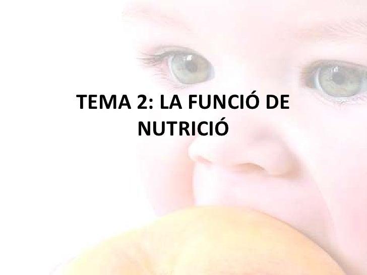 TEMA 2: LA FUNCIÓ DE NUTRICIÓ<br />