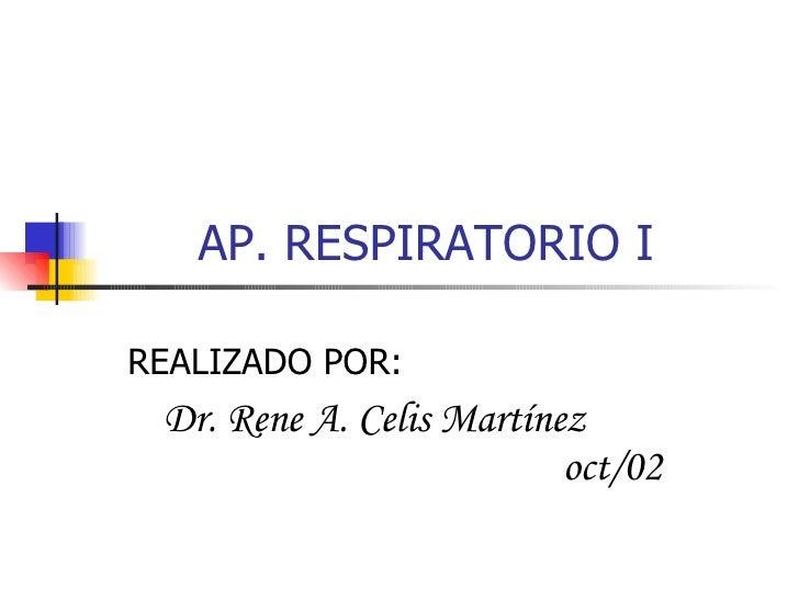 AP. RESPIRATORIO I REALIZADO POR:  Dr. Rene A. Celis Martínez  oct/02