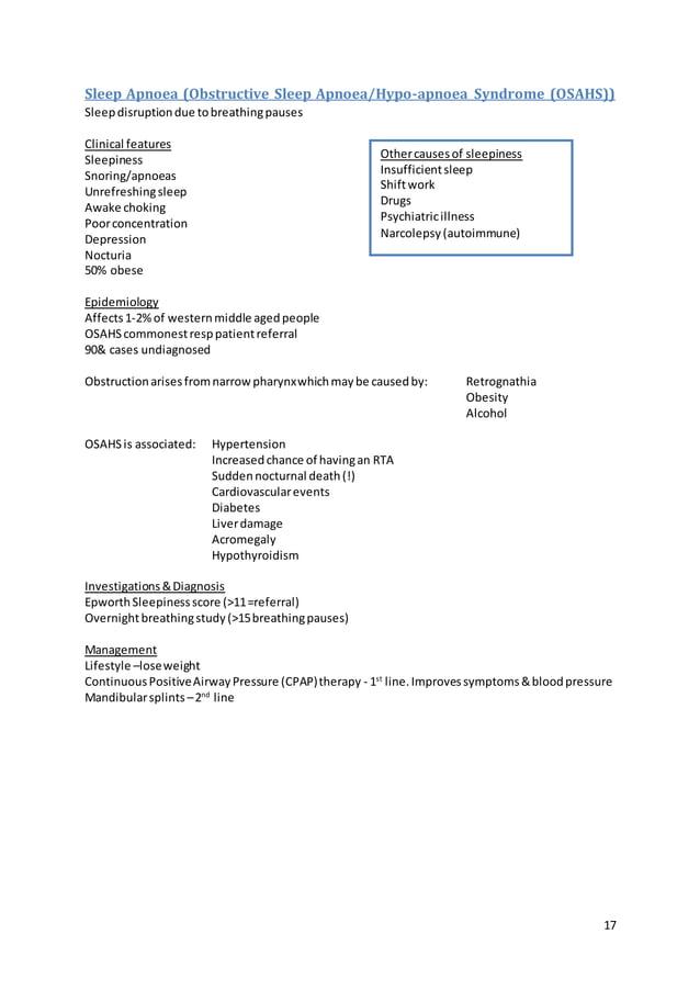 17 Sleep Apnoea (Obstructive Sleep Apnoea/Hypo-apnoea Syndrome (OSAHS)) Sleepdisruptiondue tobreathingpauses Clinical feat...