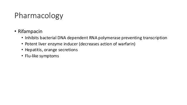 Pharmacology • Pyrazinamide • Converted into pyrazinoic acid which inhibits fatty acid synthase • Hyperuricaemia causing g...
