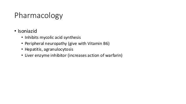 Pharmacology • Ethambutol • Inhibits arabinosyl transferase which polymerises arabinose into arabinan • Optic neuritis • D...
