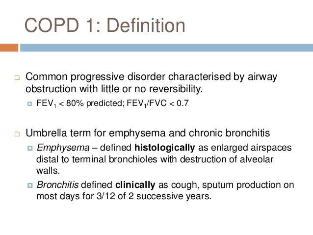 COPD 3: Investigations  Lung function tests:  Obstructive pattern   TLC,  RV  CXR:  hyperventilation, flat diaphrag...