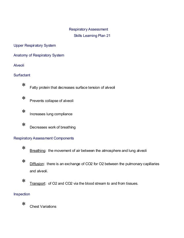 Respiratory Assessment                                         Skills Learning Plan 21Upper Respiratory SystemAnatomy of R...