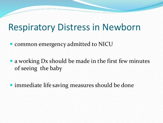 respiratory distress in newborn Infant respiratory distress syndrome (irds), also called neonatal respiratory distress syndrome (nrds), respiratory distress syndrome of newborn, or increasingly surfactant deficiency disorder (sdd), and previously called hyaline membrane disease (hmd), is a syndrome in premature infants caused by developmental insufficiency of pulmonary.