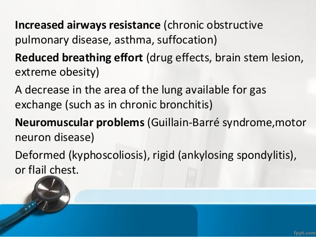 HYPOVENTILATION • P(A-a)O2 is normal. • PaCO2 is elevated (hypercapnia) • Increasing the fraction of inspired oxygen (FIO2...