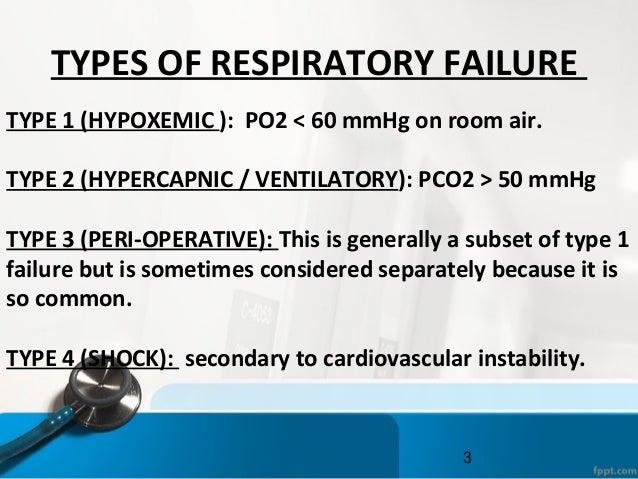 3 TYPES OF RESPIRATORY FAILURE TYPE 1 (HYPOXEMIC ): PO2 < 60 mmHg on room air. TYPE 2 (HYPERCAPNIC / VENTILATORY): PCO2 > ...