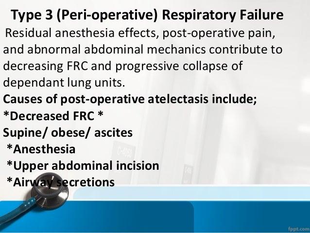 Type 3 (Peri-operative) Respiratory Failure Residual anesthesia effects, post-operative pain, and abnormal abdominal mecha...