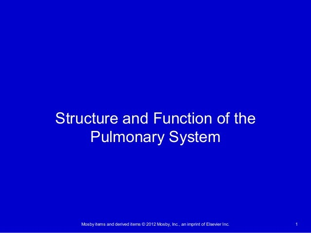 Mosby items and derived items © 2012 Mosby, Inc., an imprint of Elsevier Inc. 1 Structure and Function of the Pulmonary Sy...