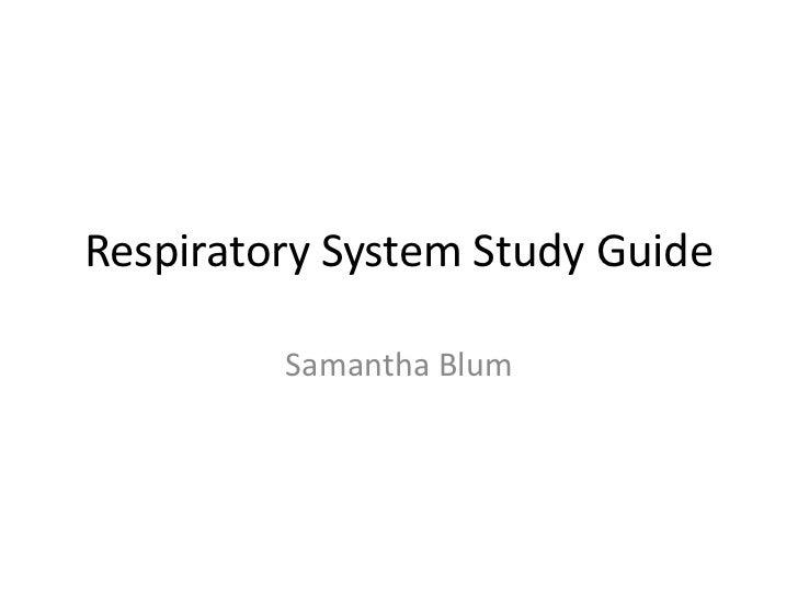 Respiratory System Study Guide         Samantha Blum