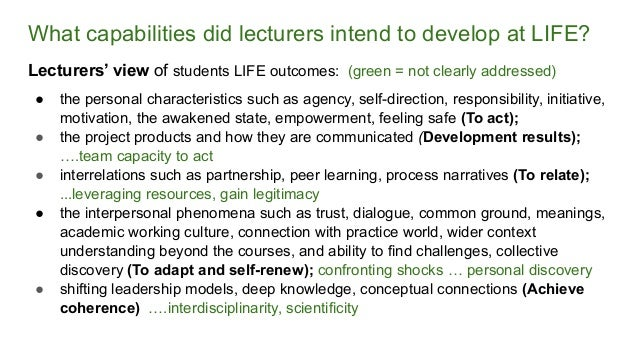 What capabilities did lecturers intend to develop at LIFE? Lecturers' view of students LIFE outcomes: (green = not clearly...