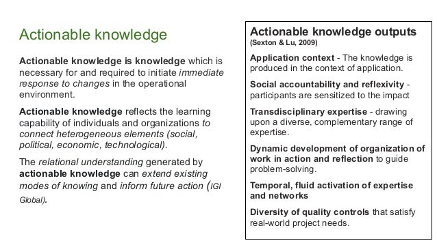 Actionable knowledge Actionable knowledge is knowledge which is necessary for and required to initiate immediate response ...