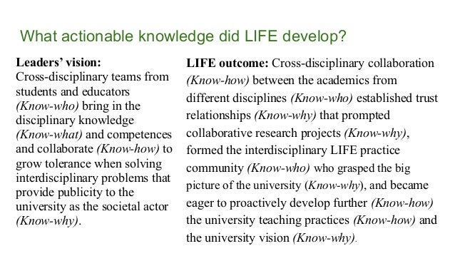 What actionable knowledge did LIFE develop? Leaders' vision: Cross-disciplinary teams from students and educators (Know-wh...