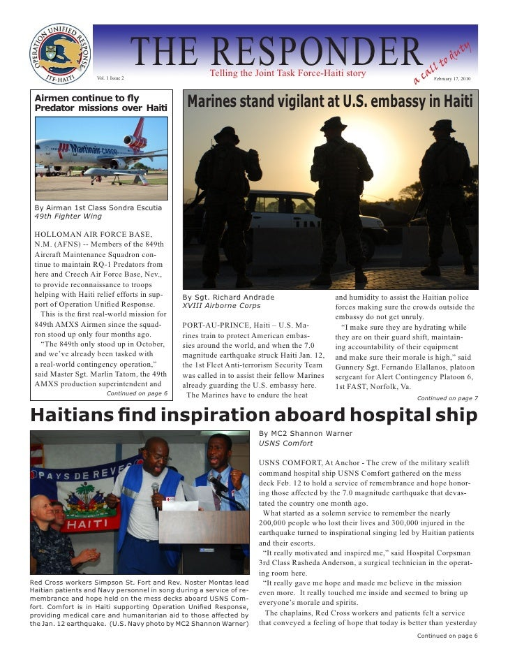 Vol. 1 Issue 2                                      THE RESPONDER     Telling the Joint Task Force-Haiti story            ...