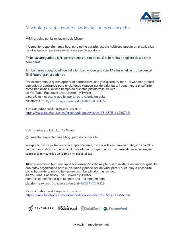 www.fernandodeleon.net Machote para responder a las invitaciones en LinkedIn 🎉Mil gracias por la invitación Luis Miguel 😯L...