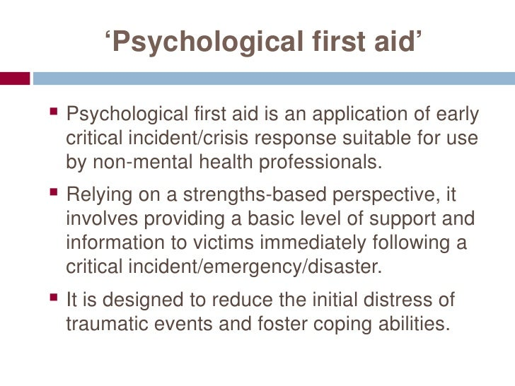 Responding In Times Of Crisis Providing Psychological