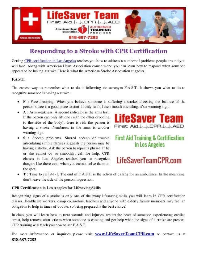 Responding To A Stroke With Cpr Certification