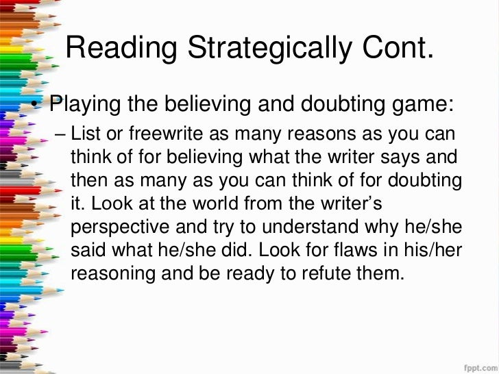 believing doubting essay The believing and doubting game  at one moment, everyone is believing, and when that is exhausted, everyone begins to play the doubting game.