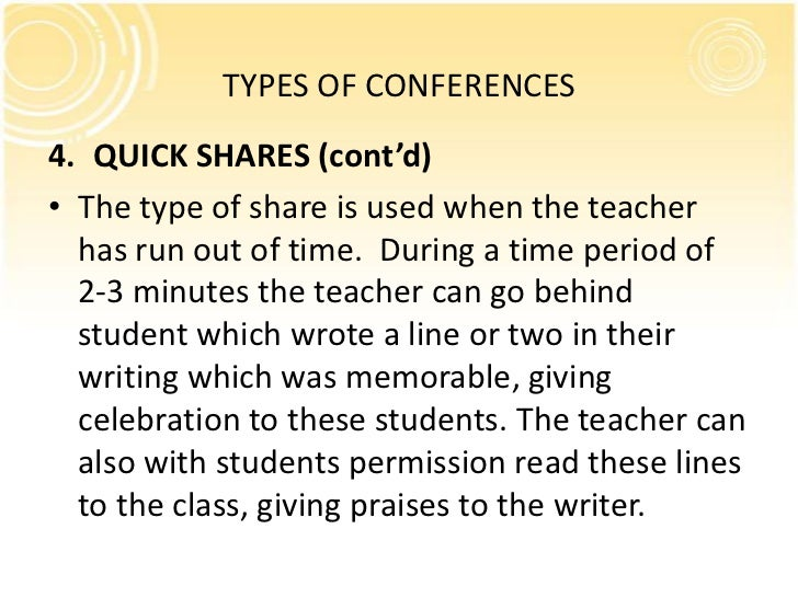 TYPES OF CONFERENCES4. QUICK SHARES (cont'd)• The type of share is used when the teacher  has run out of time. During a ti...