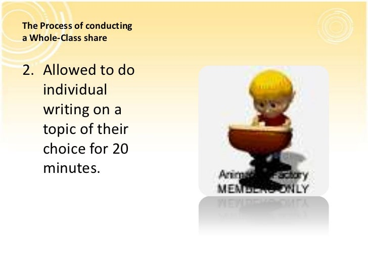 The Process of conductinga Whole-Class share2. Allowed to do   individual   writing on a   topic of their   choice for 20 ...