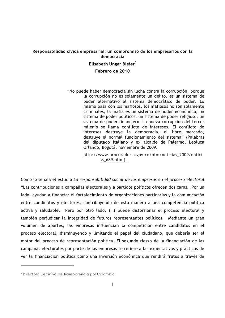 Responsabilidad cívica empresarial: un compromiso de los empresarios con la                                          democ...