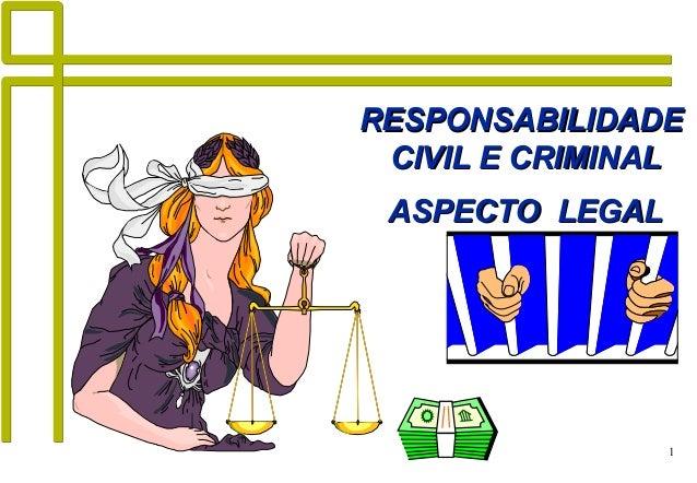 1 RESPONSABILIDADERESPONSABILIDADE CIVIL E CRIMINALCIVIL E CRIMINAL ASPECTO LEGALASPECTO LEGAL
