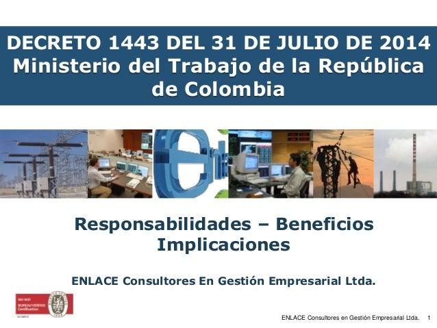 DECRETO 1443 DEL 31 DE JULIO DE 2014  Ministerio del Trabajo de la República  de Colombia  Responsabilidades – Beneficios ...