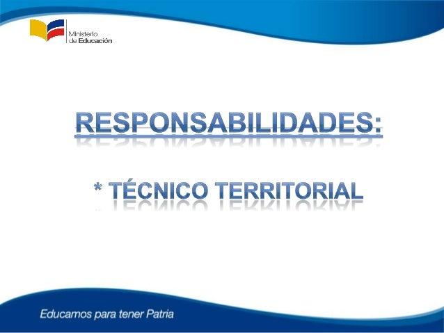 ACTIVIDADES - TÉCNICO TERRITORIAL• Monitorear el funcionamiento de todos los Centros Educativos y  el desempeño de 15 Educ...