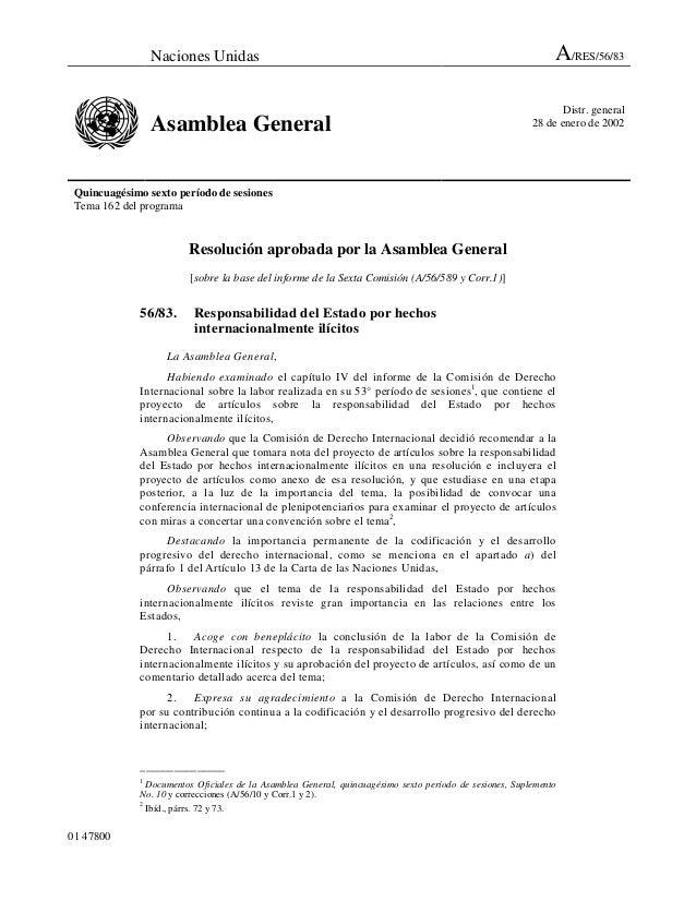Naciones Unidas A/RES/56/83 Asamblea General Distr. general 28 de enero de 2002 Quincuagésimo sexto período de sesiones Te...