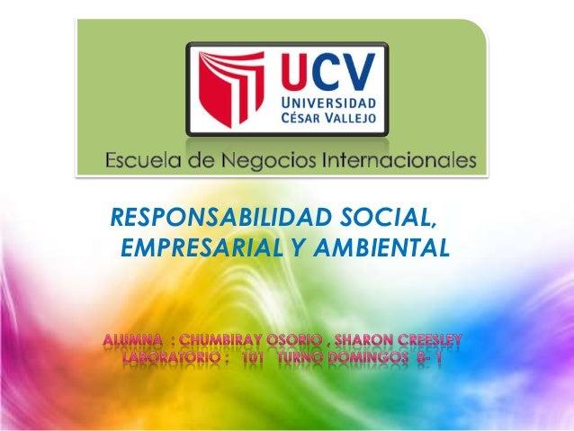 RESPONSABILIDAD SOCIAL, EMPRESARIAL Y AMBIENTAL