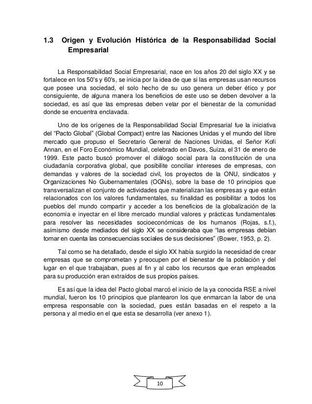 10 1.3 Origen y Evolución Histórica de la Responsabilidad Social Empresarial La Responsabilidad Social Empresarial, nace e...