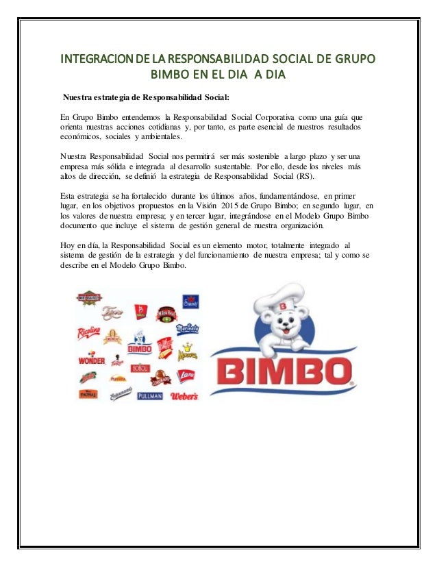 Responsabilidad social empresarial unidad 3 taller de etica for Bimbo oficinas corporativas