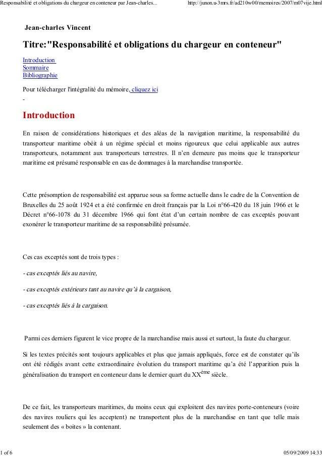 """Jean-charles Vincent Titre:""""Responsabilité et obligations du chargeur en conteneur"""" Introduction Sommaire Bibliographie Po..."""