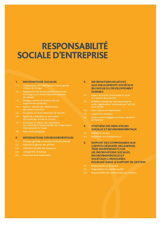 RESPONSABILITÉ  SOCIALE D'ENTREPRISE  1. INFORMATIONS SOCIALES  1.1. Collaborateurs Gfi Informatique, la plus grande  rich...