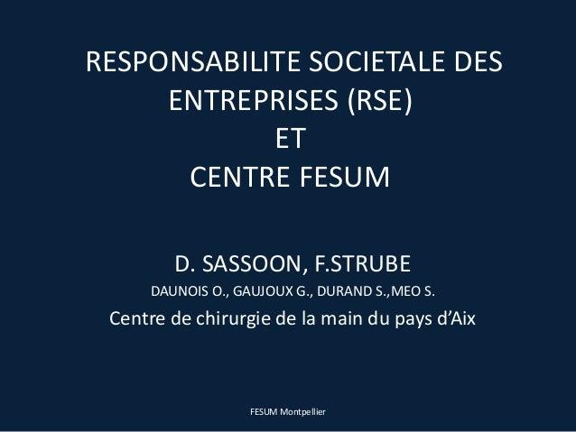 RESPONSABILITE SOCIETALE DESENTREPRISES (RSE)ETCENTRE FESUMD. SASSOON, F.STRUBEDAUNOIS O., GAUJOUX G., DURAND S.,MEO S.Cen...