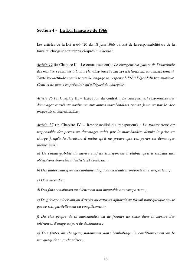 18 Section 4 - La Loi française de 1966 Les articles de la Loi n°66-420 du 18 juin 1966 traitant de la responsabilité ou d...