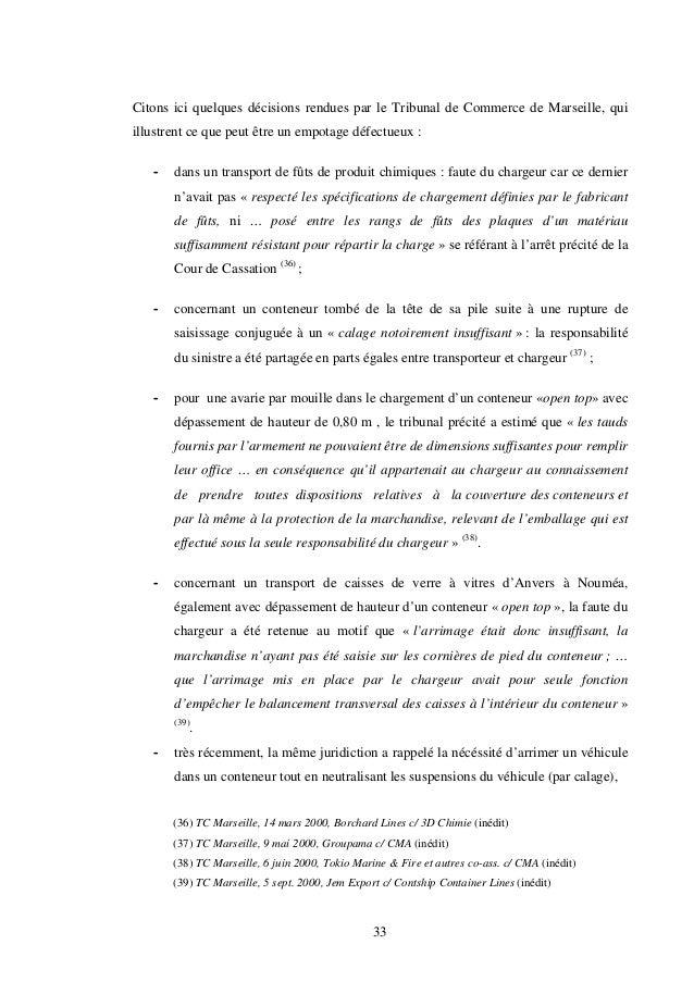 33 Citons ici quelques décisions rendues par le Tribunal de Commerce de Marseille, qui illustrent ce que peut être un empo...