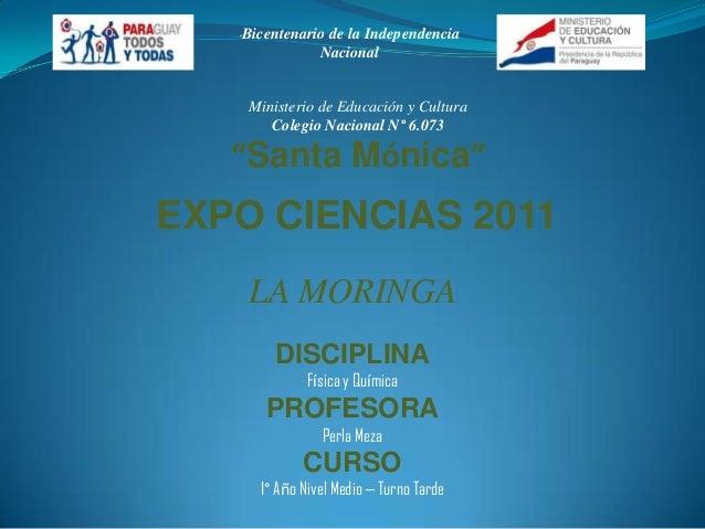 """""""   Bicentenario de la Independencia                  Nacional       Ministerio de Educación y Cultura          Colegio Na..."""