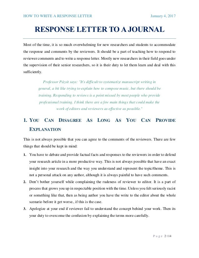Response Letter To A Journal_2017