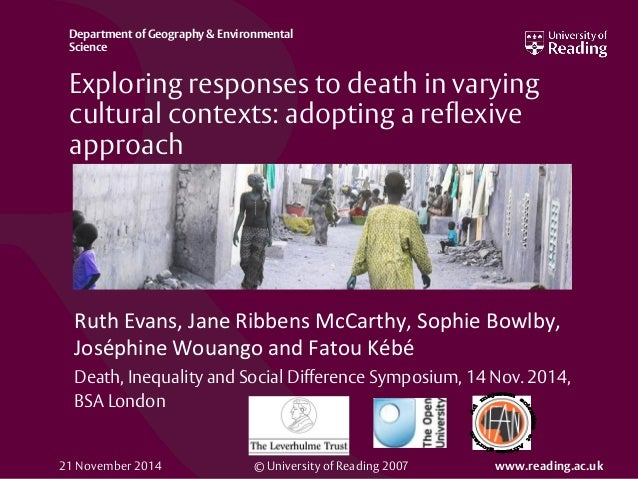 © University of Reading 2007 www.reading.ac.uk Department of Geography & Environmental Science Exploring responses to deat...